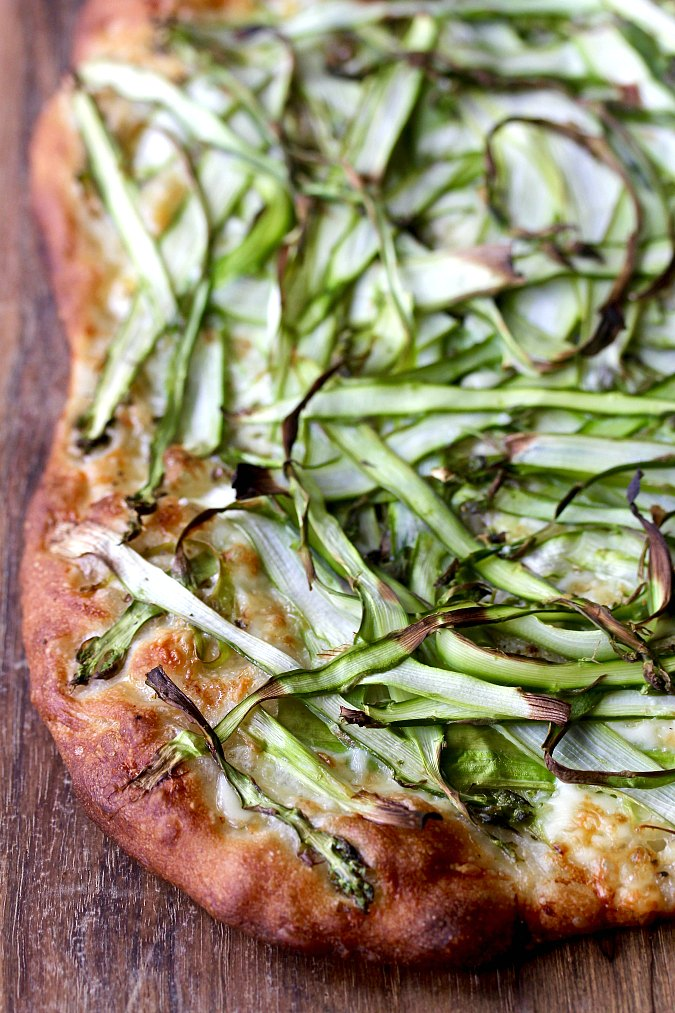 Shaved Asparagus Pizza with Brie on a board