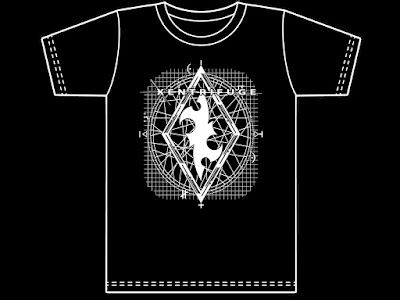"Black Tshirt with 12"" x 15"" image in white- Xentrifuge diamond over circles and grid design"