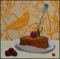 dessert,desserts,oil painting,art,artwork,pattern,pineapple upside down cake,still life