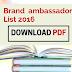 Brand & Campaign brand ambassador 2016 list List  2016 PDF [Jan – Oct]