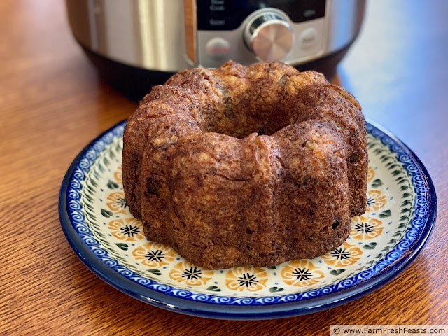 image of a plate of Instant Pot Banana Bundt Bread in front of a 3 qt Instant Pot Ultra Mini