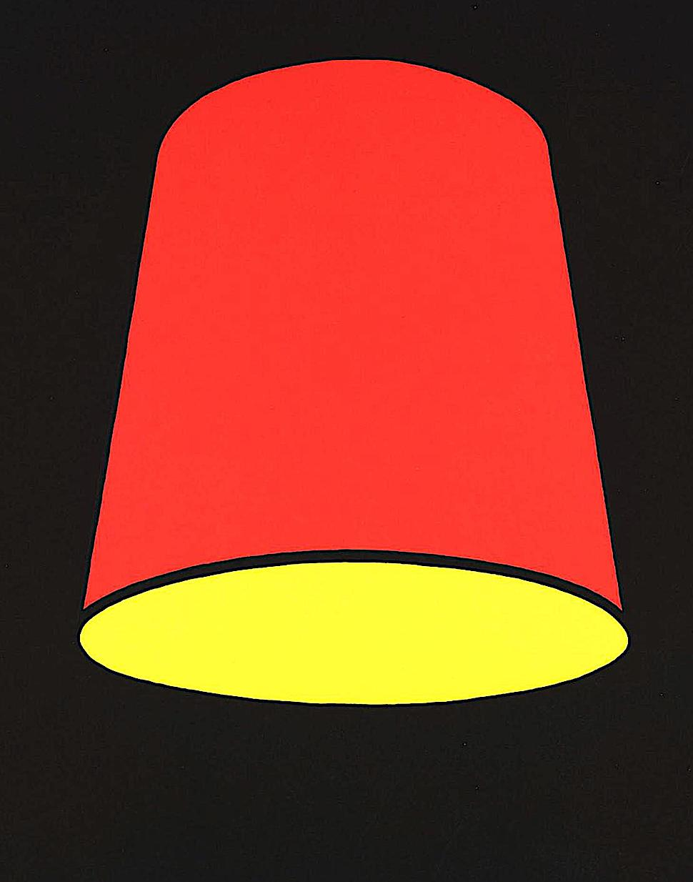 Patrick Caulfield art 1969, a red and yellow lampshade