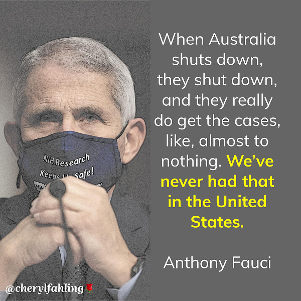 When Australia shuts down, they shut down, and they really do get the cases, like, almost to nothing. We've never had that in the United States. — Anthony S. Fauci, director of the U.S. National Institute of Allergy and Infectious Diseases