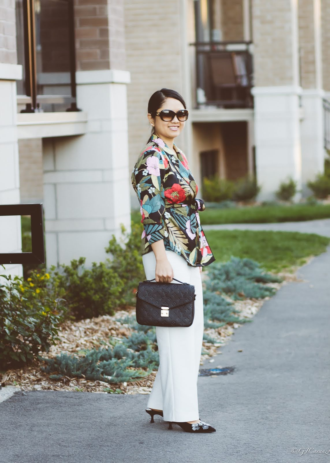 Guess Wrap Blouse   Zara Wide Leg Pants   Louis Vuitton Pochette Metis in Black Empreinte Leather   Coach Mules   Gucci Sunglasses   Petite Outfit   Mom Style