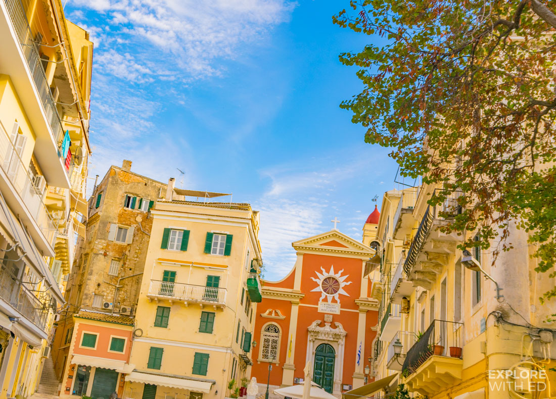 The vibrant and beautiful buildings in Corfu town
