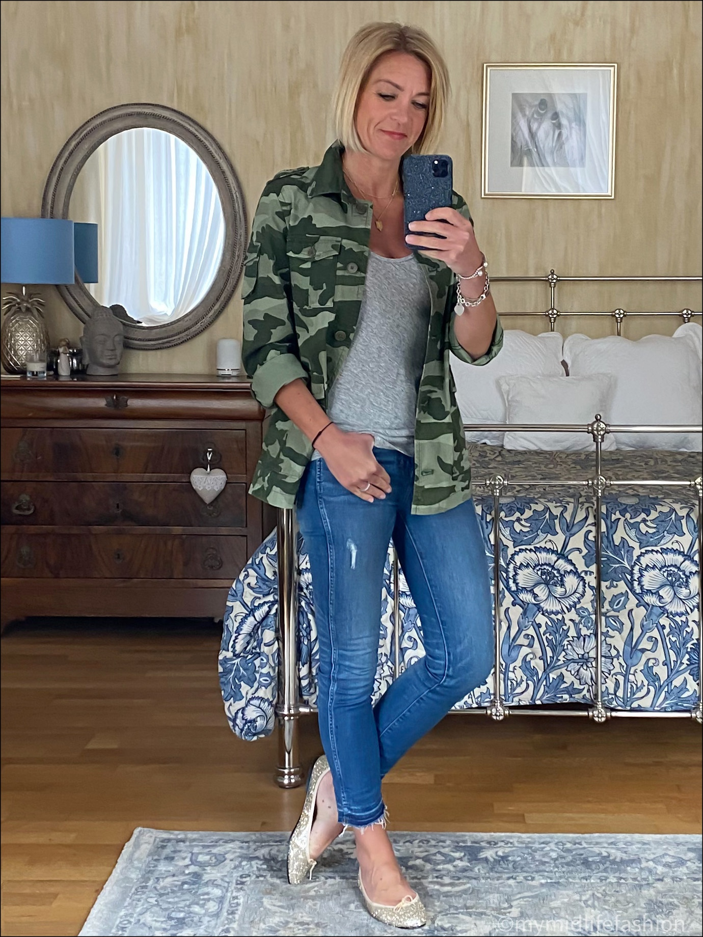 my midlife fashion, j crew camouflage overshirt, j crew tank tee, j crew 9 inch toothpick skinny jeans, French sole Henrietta glitter ballet pumps