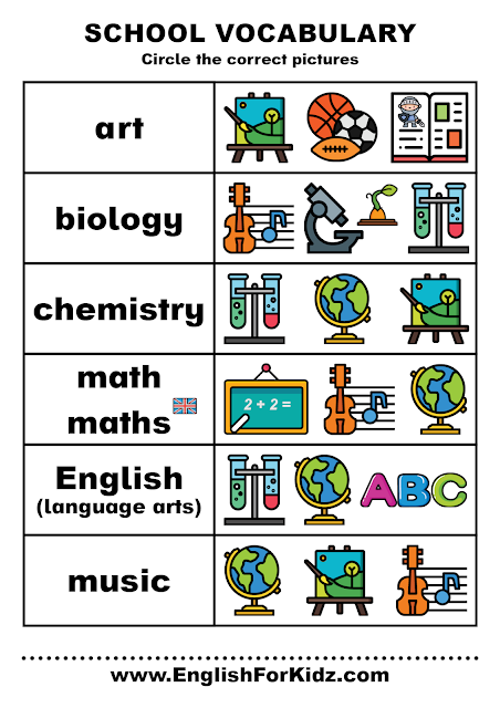 Free school subjects worksheet for English learners