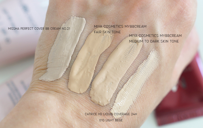 miya cosmetics mybbcream swatche