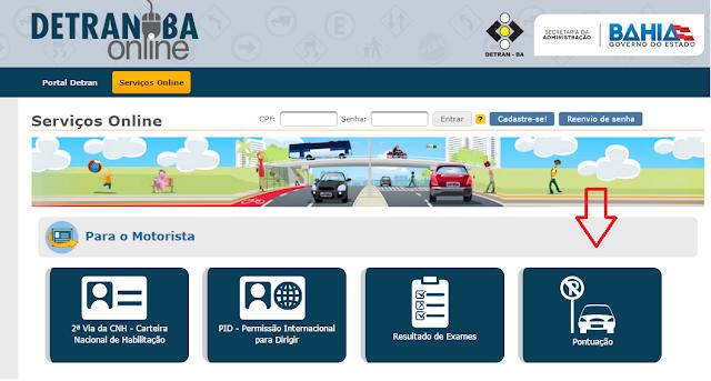 Imagem do Site Detran BA - Pontuação CNH