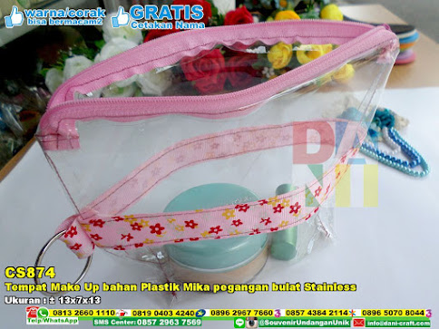 Tempat Make Up Bahan Plastik Mika Pegangan Bulat Stainless