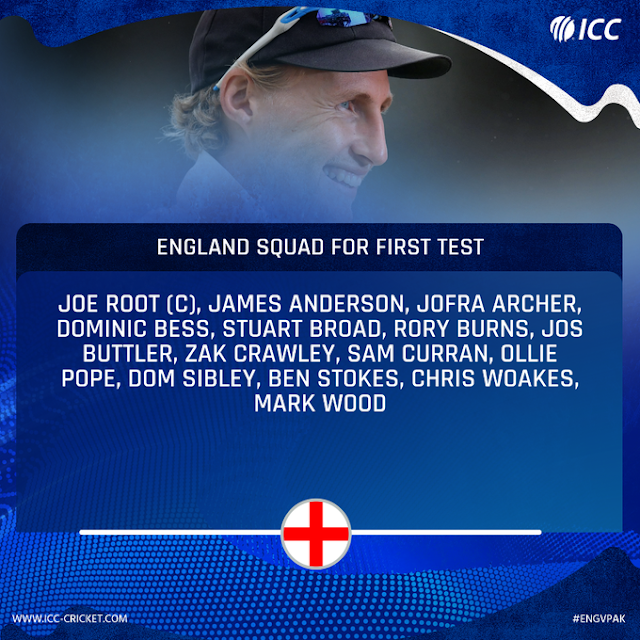 England Announce Squad For First Test Against Pakistan - Crick Pick