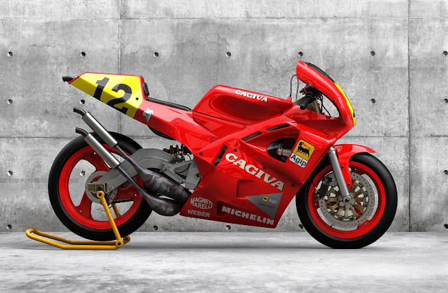Randy Mamola's 1989 Cagiva C589 Moto GP 500 Bike as a Game Asset  by Federico Zimbaldi on ArtStation