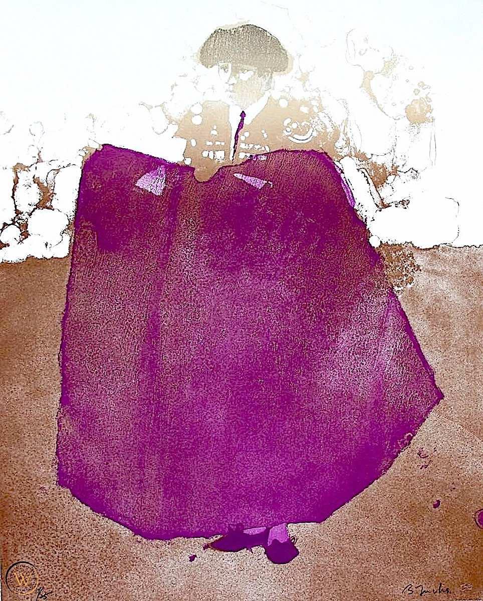 a Bernie Fuchs illustration of a brown matador with purple cape, a clash of colors