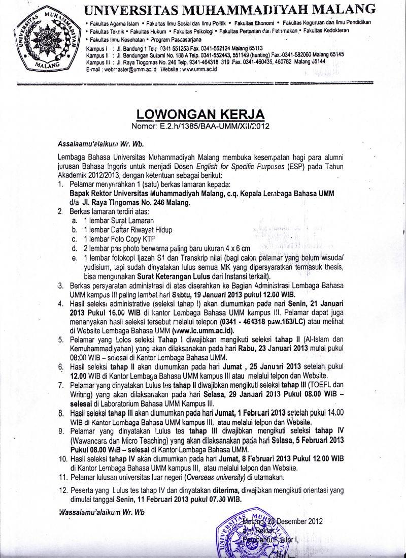 Lowongan Kerja Bca Finance Malang Informasi Lowongan Kerja Loker Terbaru 2016 2017 Lowongan Kerja Universitas Muhammadiyah Malang Share The Knownledge