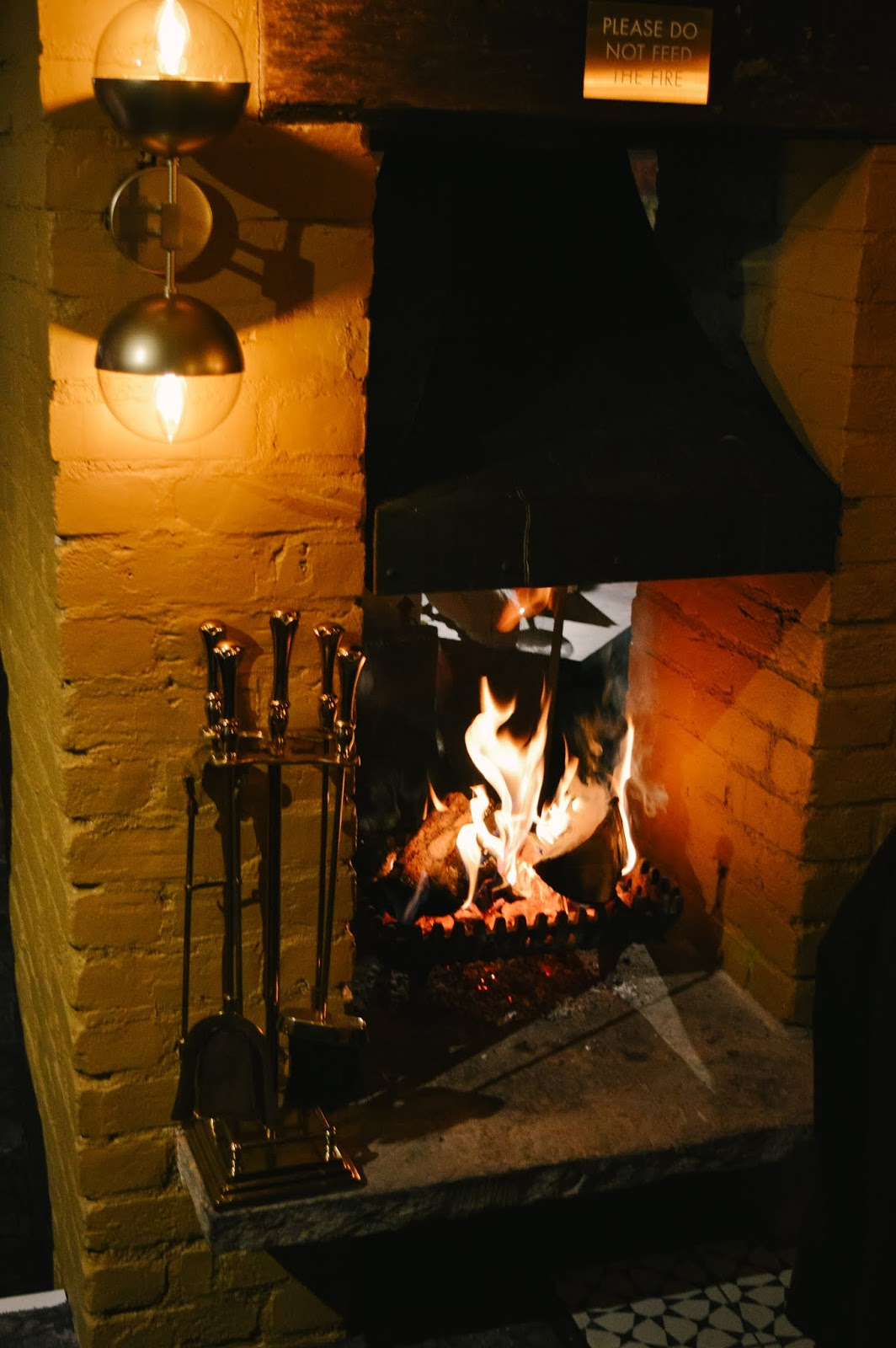 Cosy fire at The Old Forge in Otterbourne
