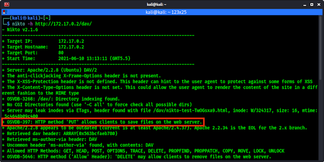 vulnerable web application allow us to save files on web server via HTTP PUT method