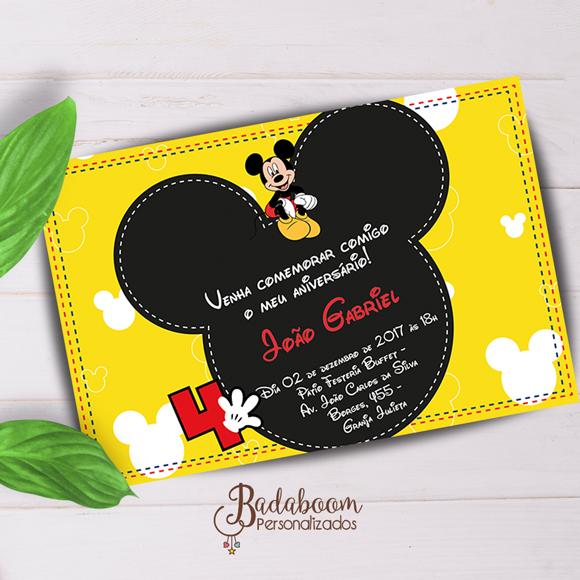 Mickey, arte digital, convite, convite digital, convite para imprimir, arte personalizada, festa infantil, festa mickey