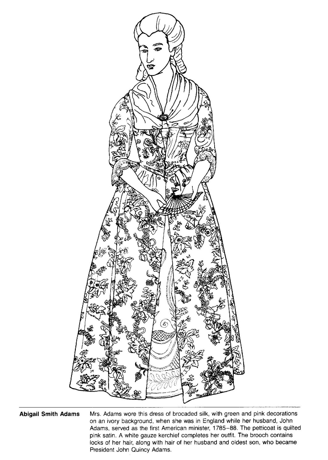 a smithsonian coloring book first ladies gowns i meant to include this abigail adams coloring page with the paper doll i posted yesterday
