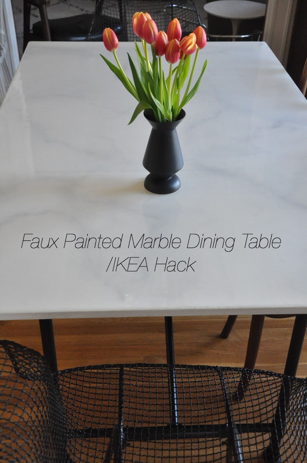 DIY Faux Marble Dining Table/ Ikea Hack