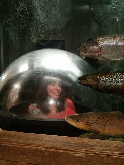 Sam under a bubble, grinning and staring starry-eyed at several large, ugly fish swimming near her face