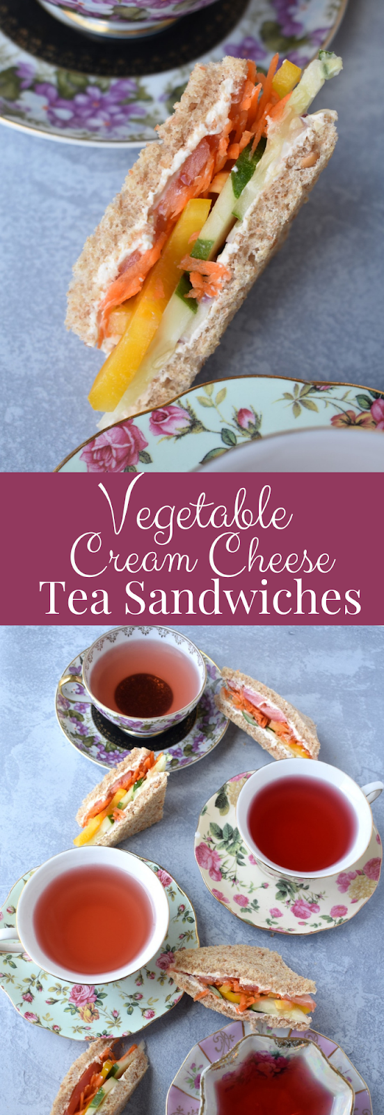 Veggie Cream Cheese Tea Sandwiches