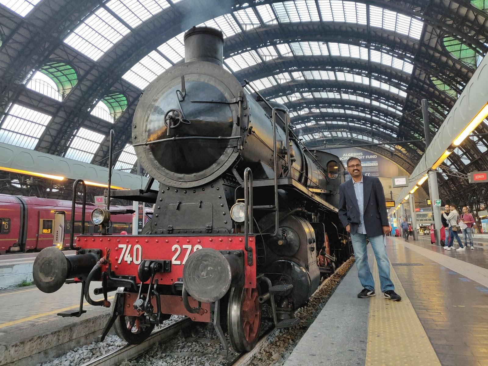 Historic Train, Sebino Express in Milan Central, Italy