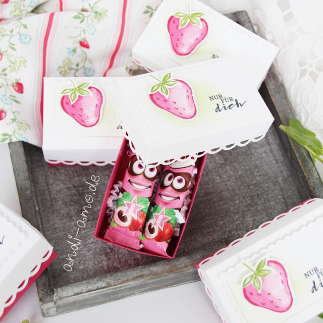 Kleine Erdbeer-Box mit Fritt Kaubonbon Anleitung