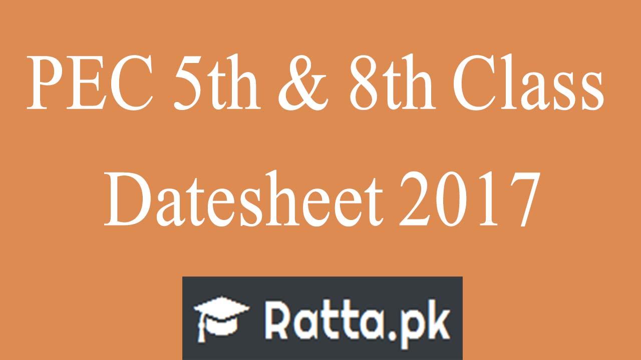 PEC 5th & 8th Class Datesheet 2017