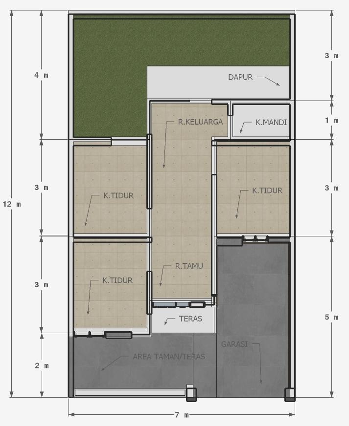 Desain Rumah Minimalis 3 Kamar 7x12 Komplit Dengan RAB Nya - DESAIN RUMAH  MINIMALIS