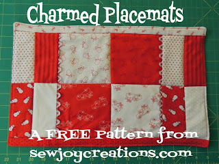 use a charm pack to make a set of placemats with this free pattern