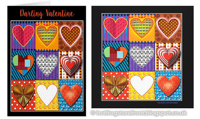 Image of Valentines hearts card and wall print