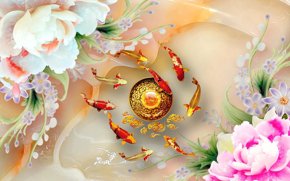Tranh hoa mẫu đơn cửu ngư ngọc