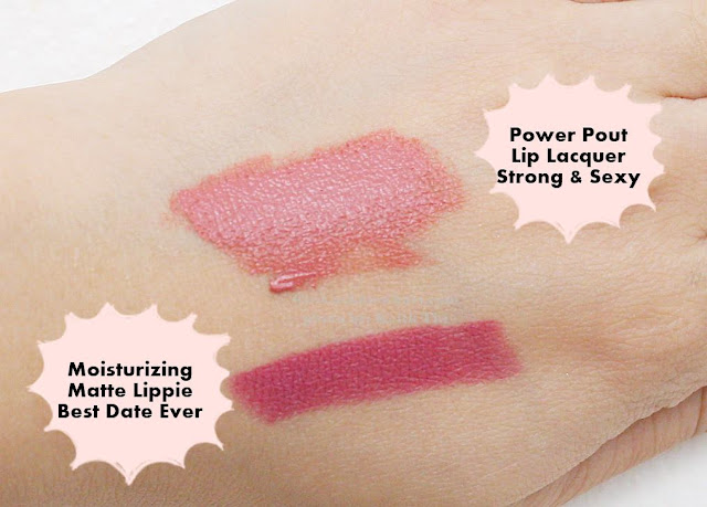 swatch of Happy Skin Shut Up & Kiss Me Moisturizing Matte Lippie and Moisturizing Lip Lacquer