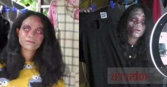 'Makeup' seperti hantu, strategi pelik wanita ini untuk menjual pakaian