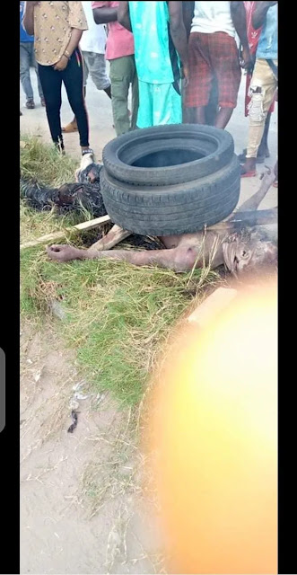 Horde sets criminal burning in Delta for stealing mobile phone with air rifle (realistic photographs)