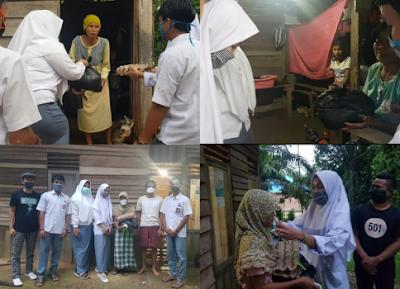 Tampil Beda, Siswa SMA Rayakan Kelulusan Dengan Bagi Bagi Sembako