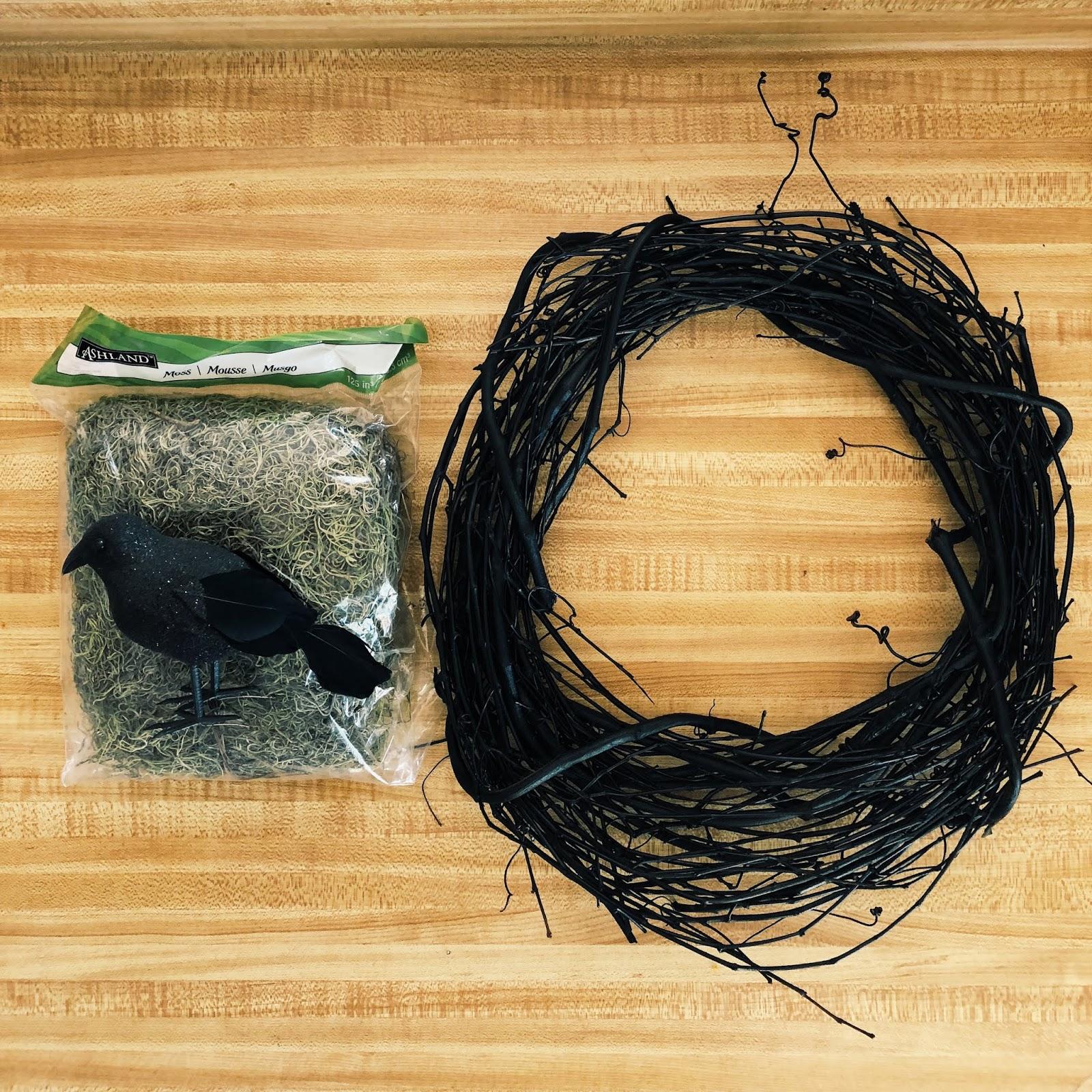 Easy Halloween Raven Wreath