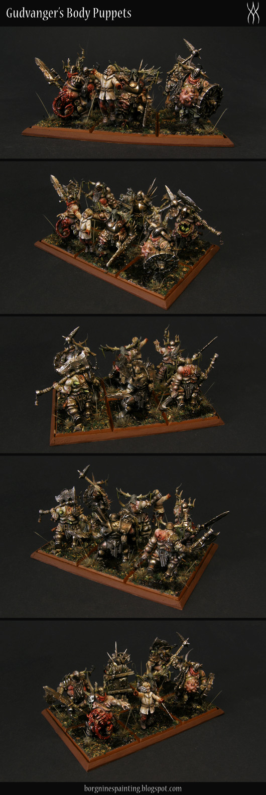 Unit of 6 converted Putrid Blightkings with swamp bases, standing on a unit tray made out of bardboard and balsawood