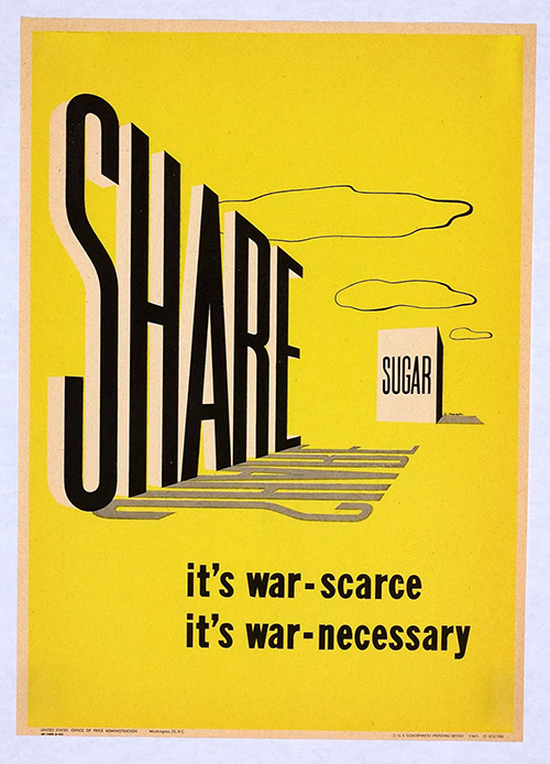 Share Sugar, It's War - Vintage Food Poster, classic posters, food, free download, free posters, free printable, graphic design, military, printables, propaganda, public health, public service announcement, retro prints, vintage, vintage posters, vintage printables, war,