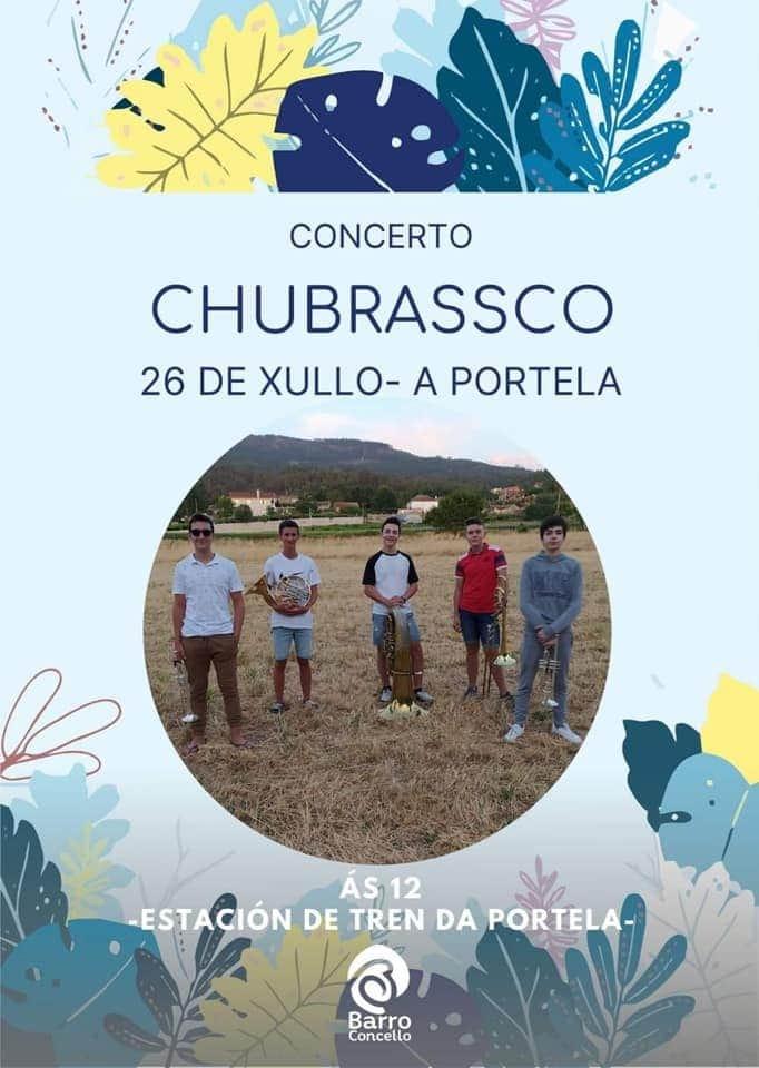 Domingo, 26 de xullo, ás 12 h actuará o grupo de metais Chubrassco na estación de tren da Portela.