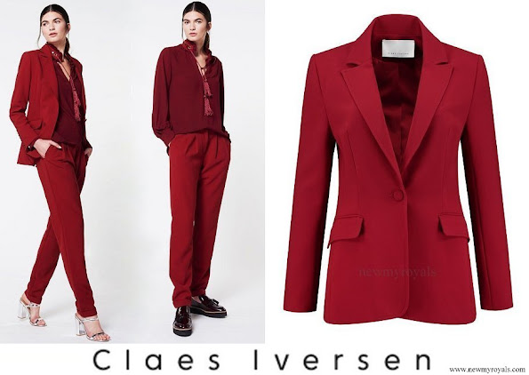 Queen Maxima wore Claes Iversen LaPerm Classic red blazer Korat red Blouse Lykoi trousers