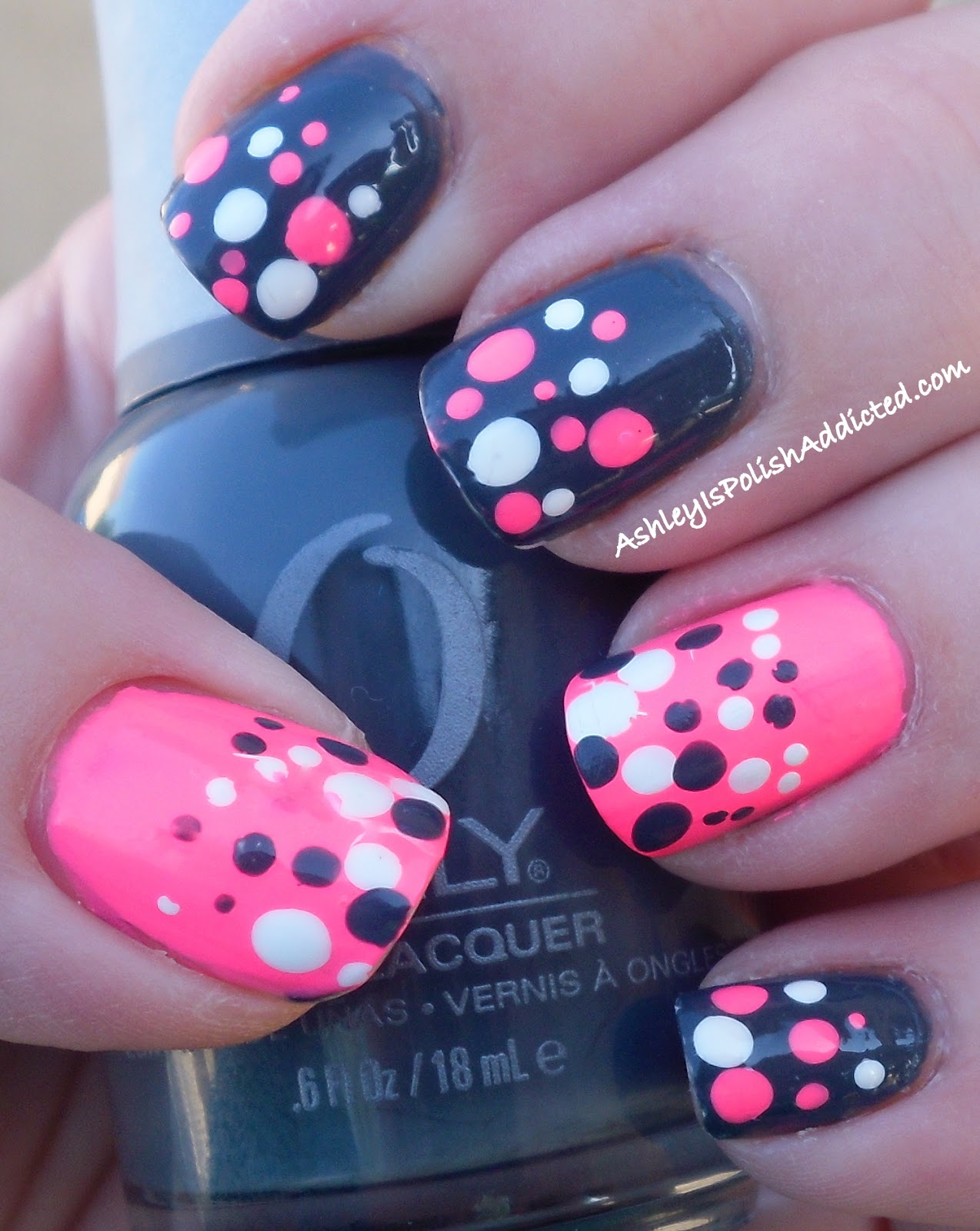 Ashley Is PolishAddicted: Grey And Neon Pink Polka Dots
