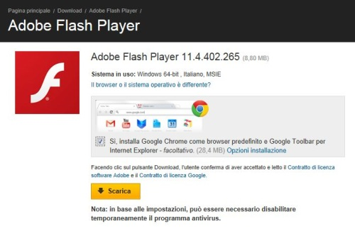 versione pi recente di flash player