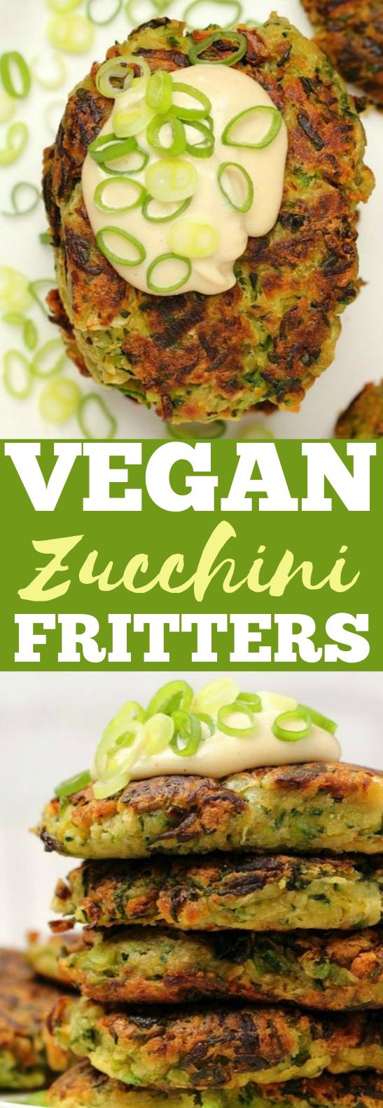VEGAN ZUCCHINI FRITTERS #vegan #appetizers