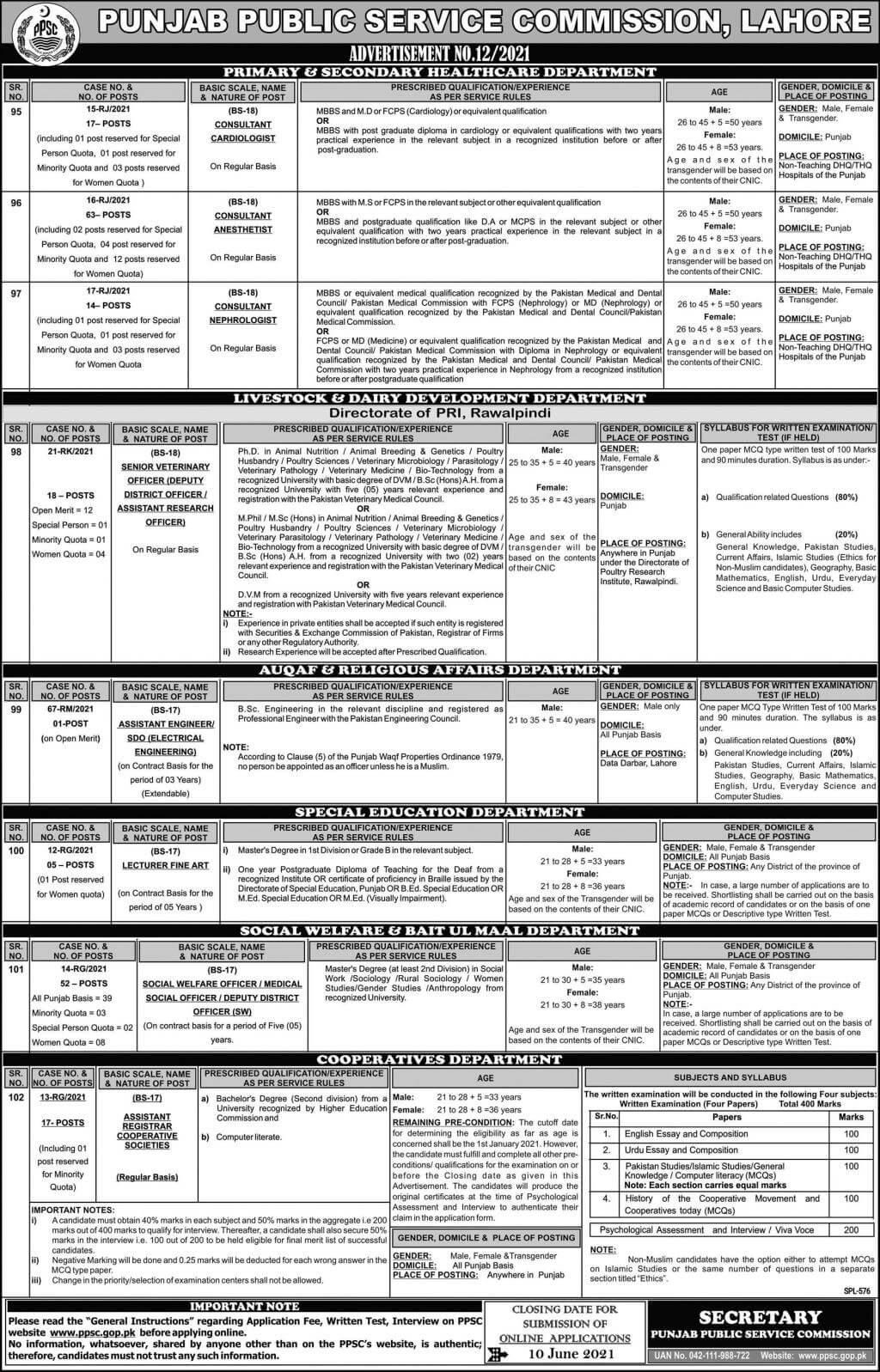 Punjab Public Service Commission PPSC Jobs 2021 Advertisement in Pakistan