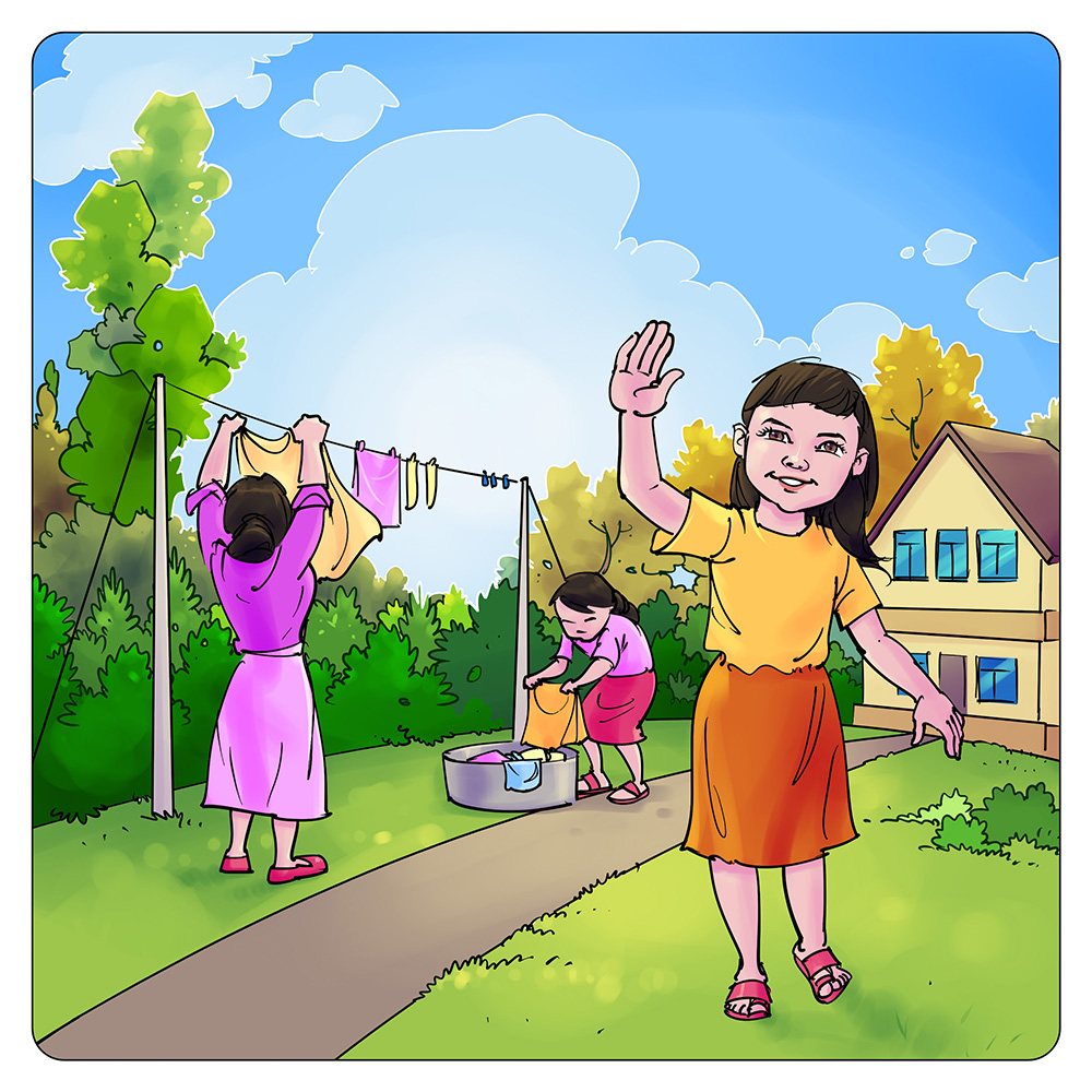 colorful children's book story illustration
