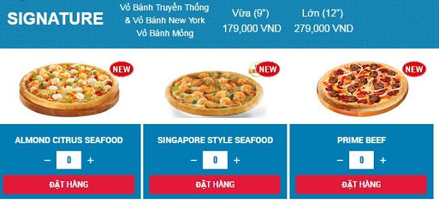 giá bánh domino pizza