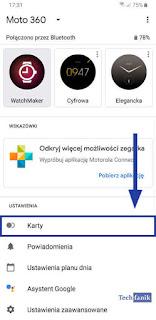 Aplikacja Wear OS Karty