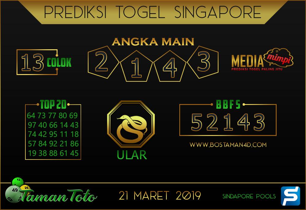 Prediksi Togel SINGAPORE TAMAN TOTO 21 MARET 2019