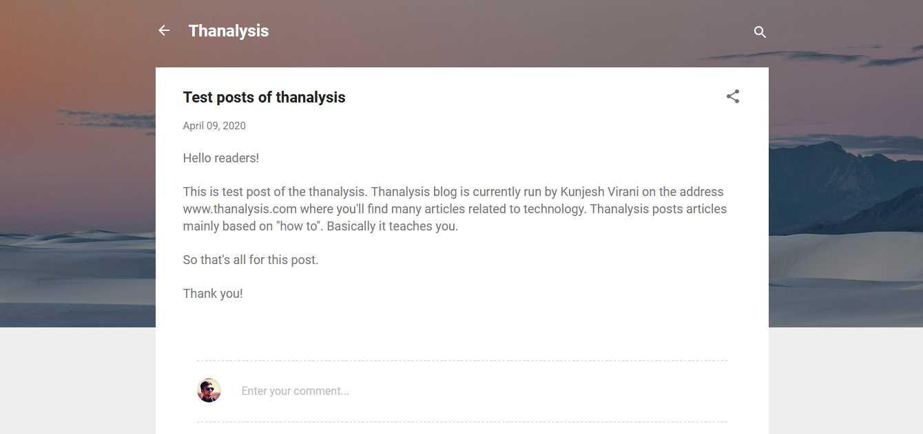 Live post - Thanalysis